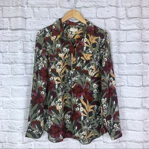 LOFT Tropical Floral Roll Tab Blouse Shirt Large